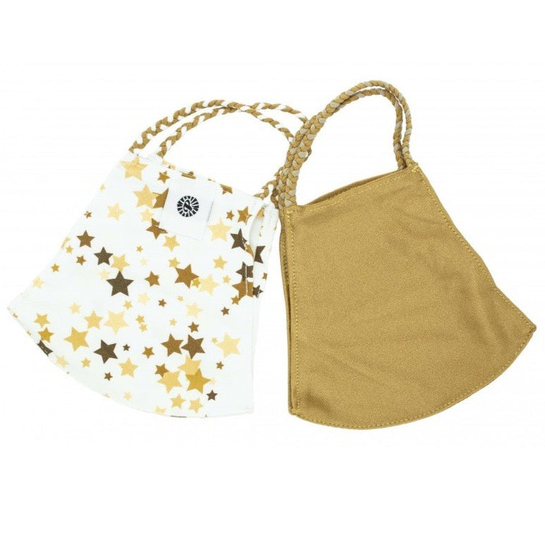 Pom Face Mask 2 Pack - Gold Star/Gold