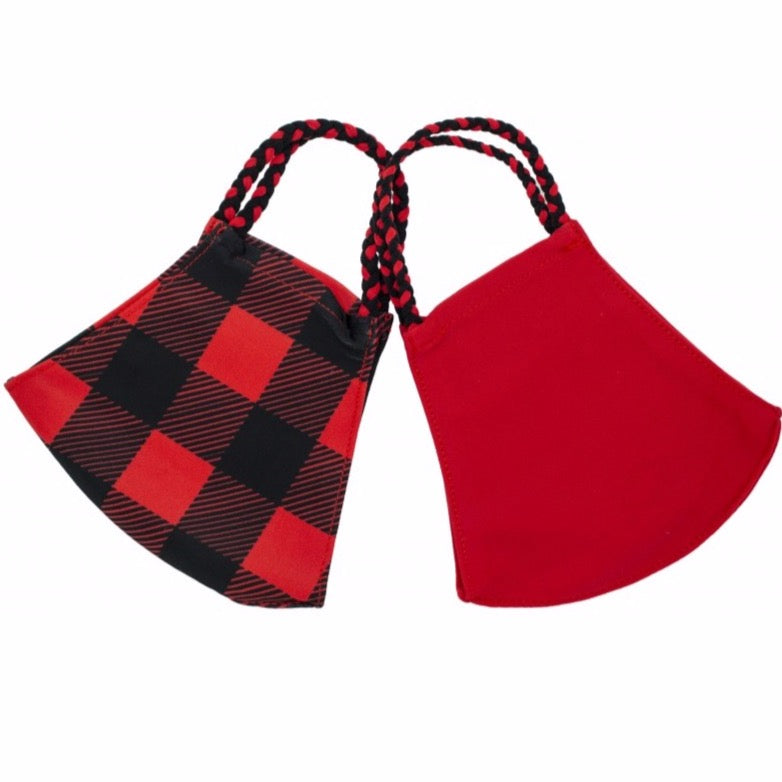 Pom Face Mask 2 Pack - Buffalo Check/Red