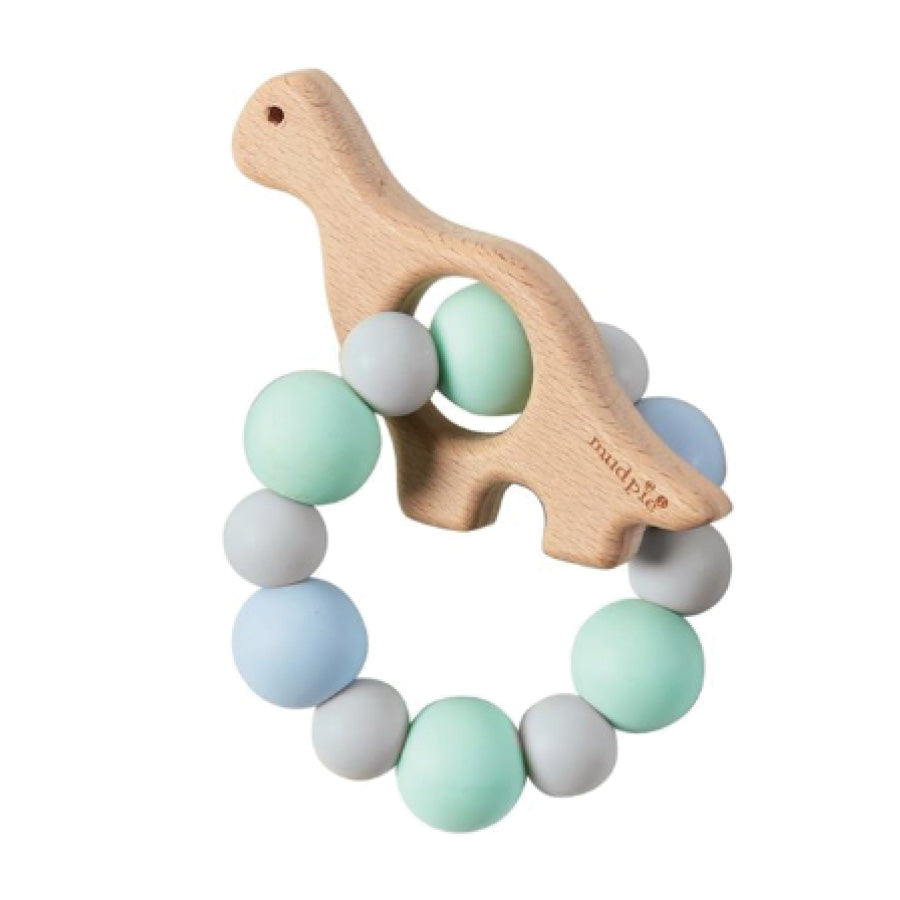 BLUE DINO WOOD & SILICONE TEETHER
