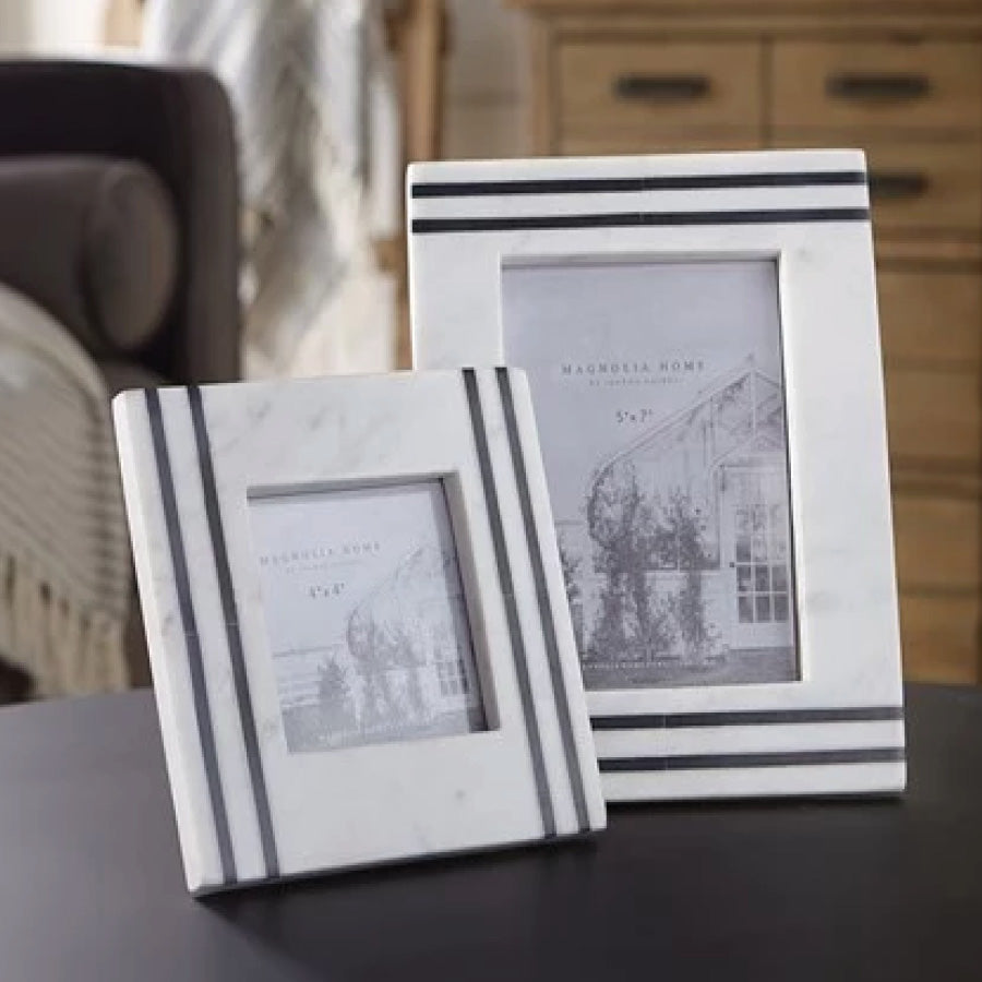 Magnolia Home White and Black Marble Photo Frame 5X7