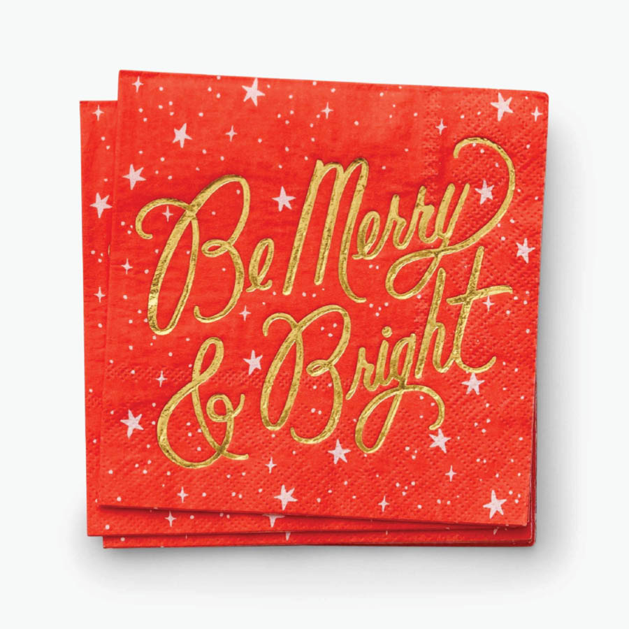 Be Merry & Bright Holiday Cocktail Napkins
