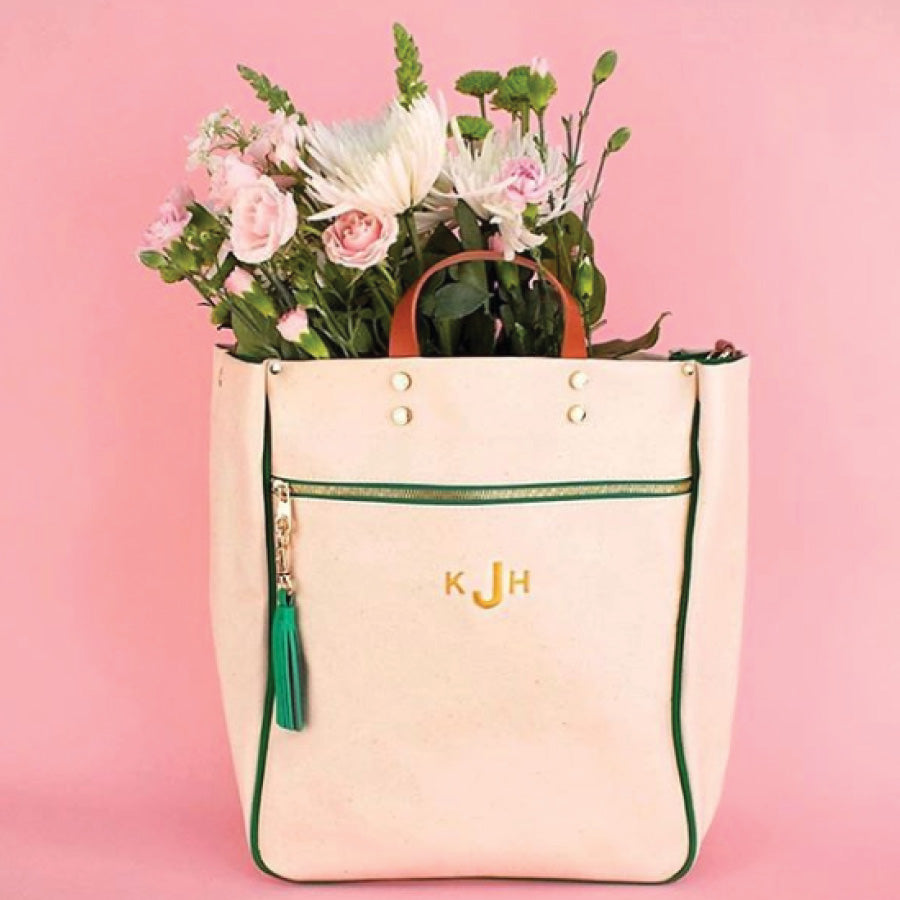 Monogramed Parker Tote Bag in Emerald