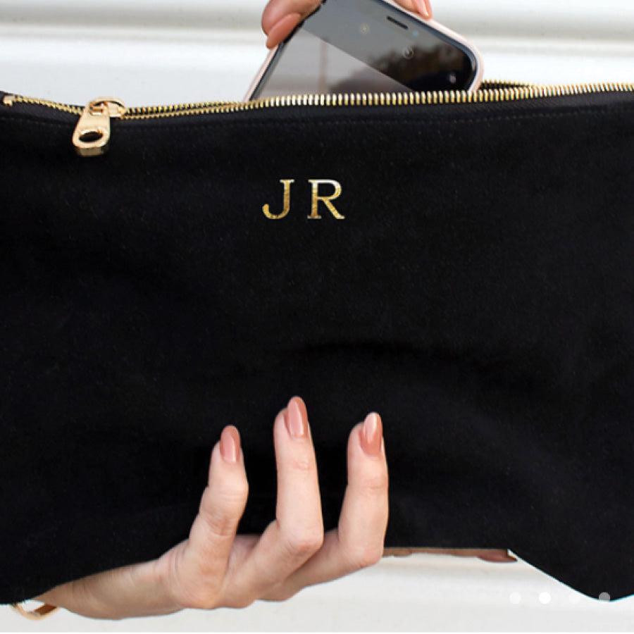 Personalized Suede Clutch in Black