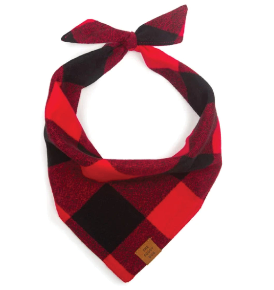Red and Black Check Flannel Dog Bandana