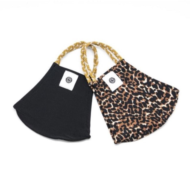 Pom Face Mask 2 Pack - Black/Leopard