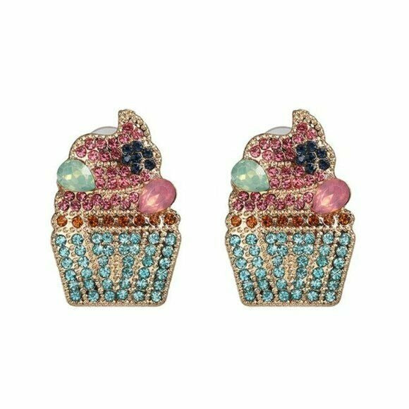 Pink Blue Rhinestone Cute Cupcake Drop Women's Fashion Earrings Fun Cartoon