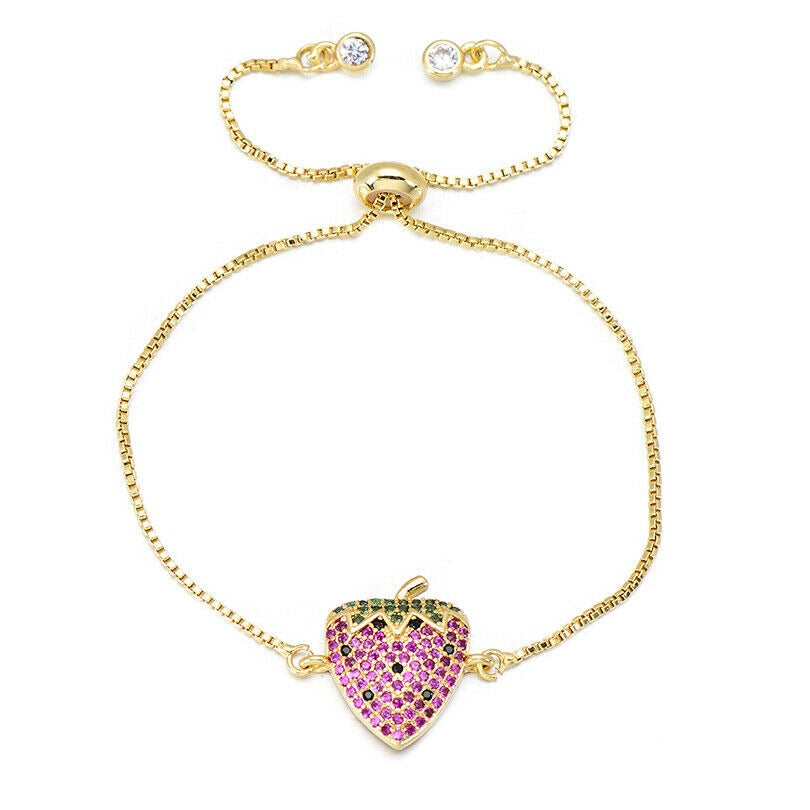 Gold Pink Strawberry Fruit Cute Cubic Zirconia Stackable Adjustable Bracelet