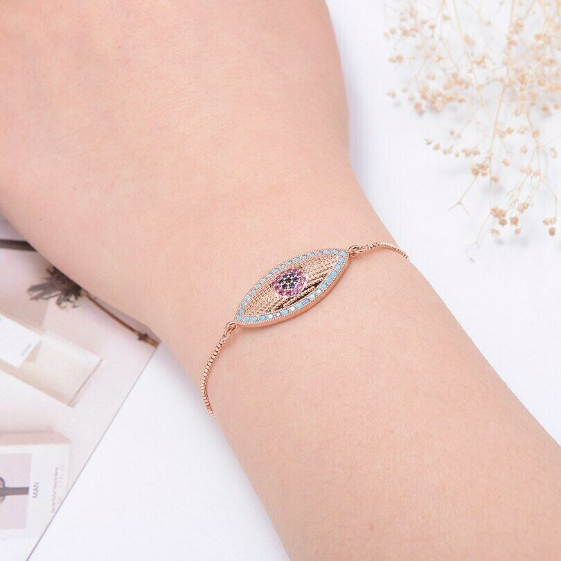 Large Rose Gold Blue Evil Eye Boho Cubic Zirconia Women's Adjustable Bracelet