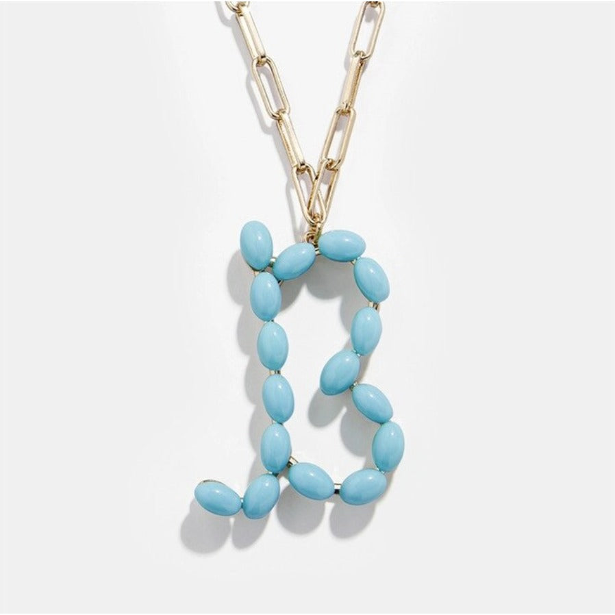 "Blue Bead Paper Clip Chain Initial Letter ""B"" Name Necklace"