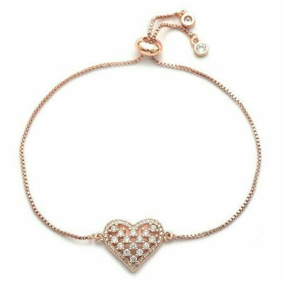 Darling Heart Love Cham Yellow Gold Cubic Zirconia Elegant Adjustable Bracelet