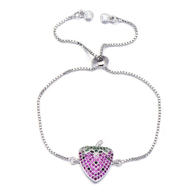 Silver Pink Strawberry Fruit Cubic Zirconia Stackable Adjustable Bracelet