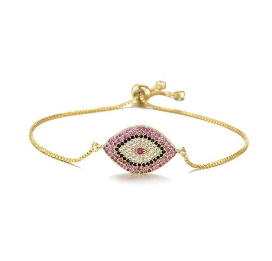 Yellow Gold Pink Cubic Zirconia Evil Eye Protection Boho Adjustable Bracelet