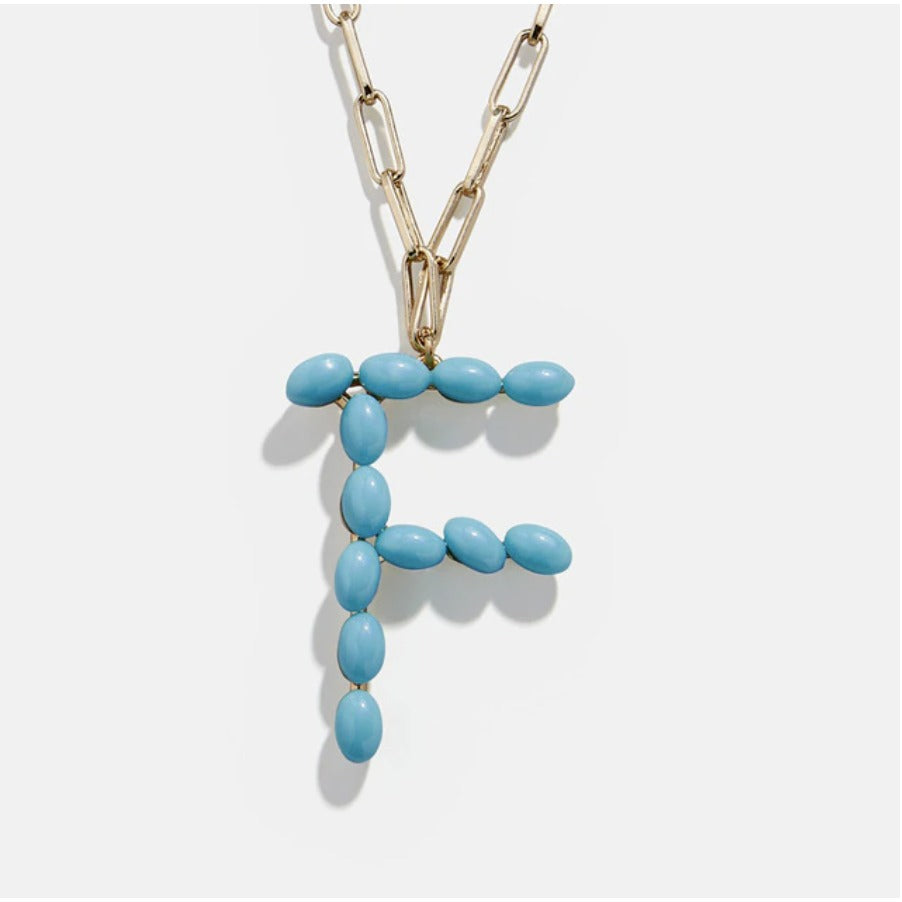 "Blue Bead Paper Clip Chain Initial Letter ""F"" Name Necklace"