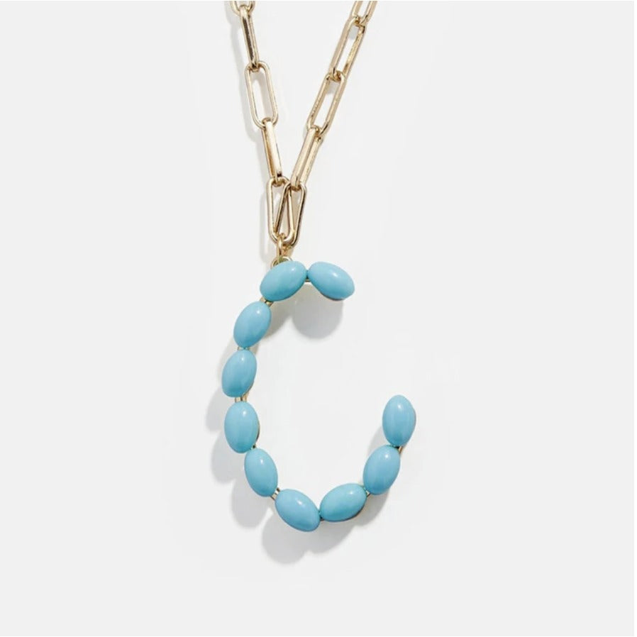 "Blue Bead Paper Clip Chain Initial Letter ""C"" Name Necklace"