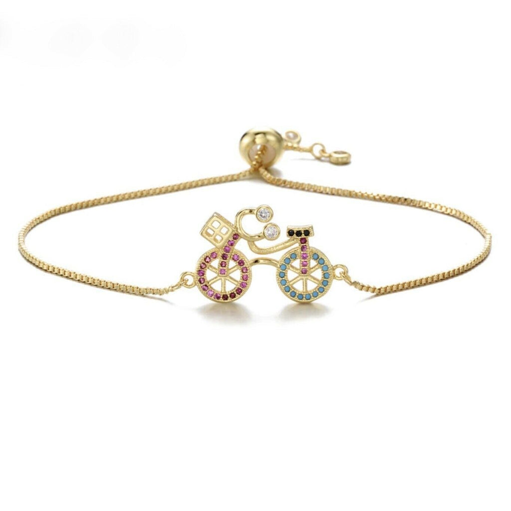 Cute Bike Pink & Blue Cubic Zirconia Yellow Gold Bracelet