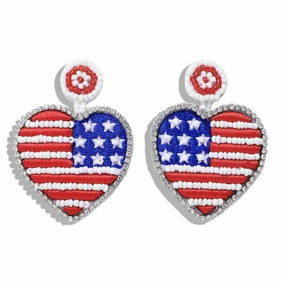 Heart Star American Flag Red Blue Dangle Beaded Women's Earrings Patriotic USA