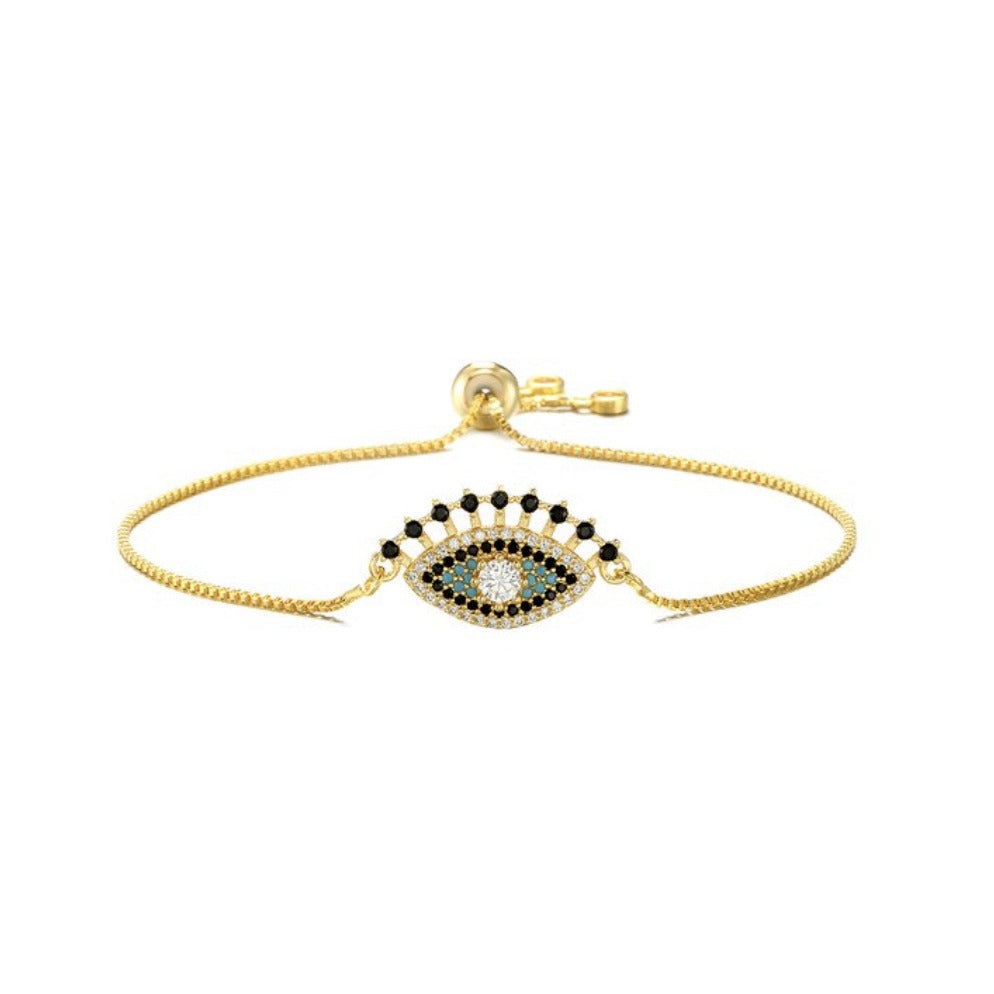 Yellow Gold Blue Cubic Zirconia Halo Evil Eye Cute Lash Boho Adjustable Bracelet