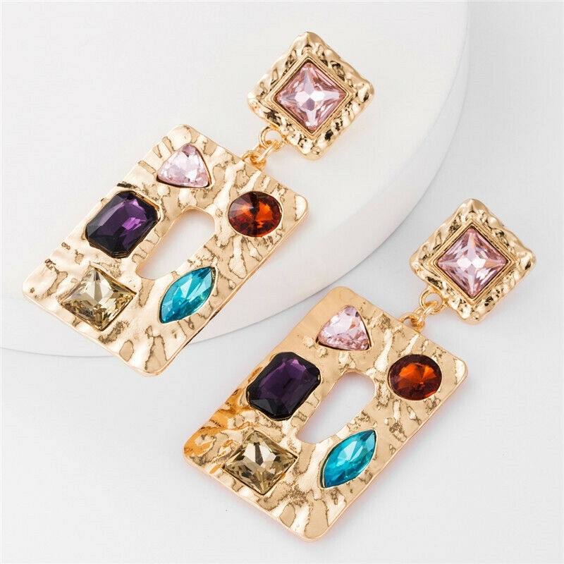 Large Gold Red Blue Rhinestone Baroque Rectangle Women's Fashion Party Earrings