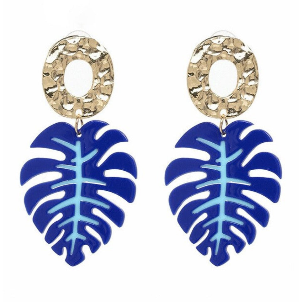 Banana Leaf Gold Blue Hammered Retro Acrylic Drop Women's Earrings Vacay Beach