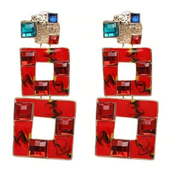Red Blue Gold Square Retro Vintage Style Large Long Women's Drop Earrings Party