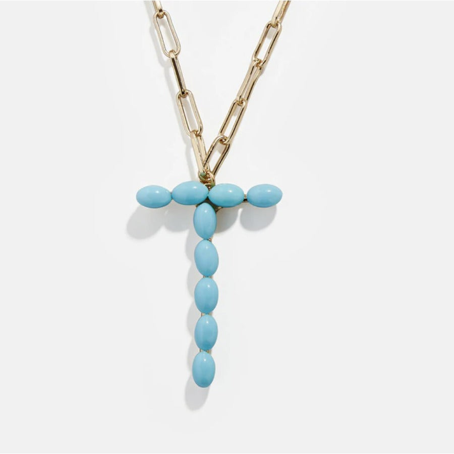 "Blue Bead Paper Clip Chain Initial Letter ""T"" Name Necklace"
