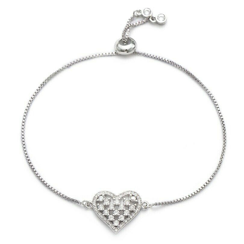 Darling Heart Love Cham Silver Cubic Zirconia Elegant Adjustable Bracelet