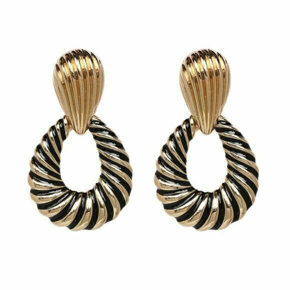 Gold Black Swirl Teardrop Large Retro Drop Women's Fashion Earrings Party Chic
