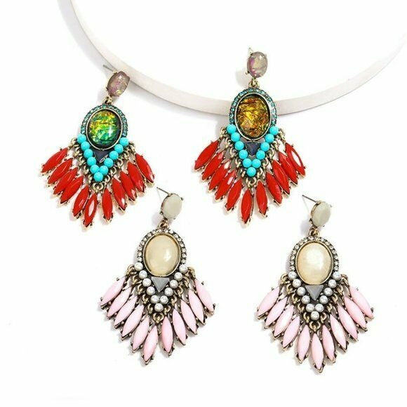 Pink Boho Gypsy Dangle Tassel Earrings