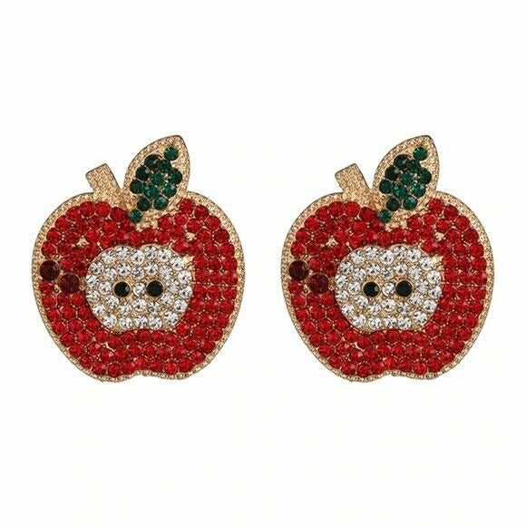 Red Gold Rhinestone Large Apple Fruit Women's Stud Earrings Cute Summer
