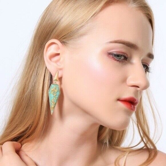 Gold Turquoise Stone Retro Style Asymmetric Pointy Drop Women's Earrings Party