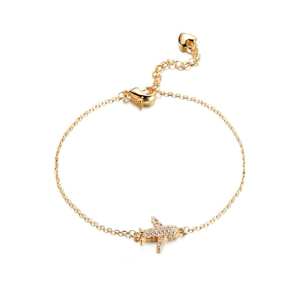 Airplane Cubic Zirconia Dainty Women's Gold Bracelet Travel Adventure Flying