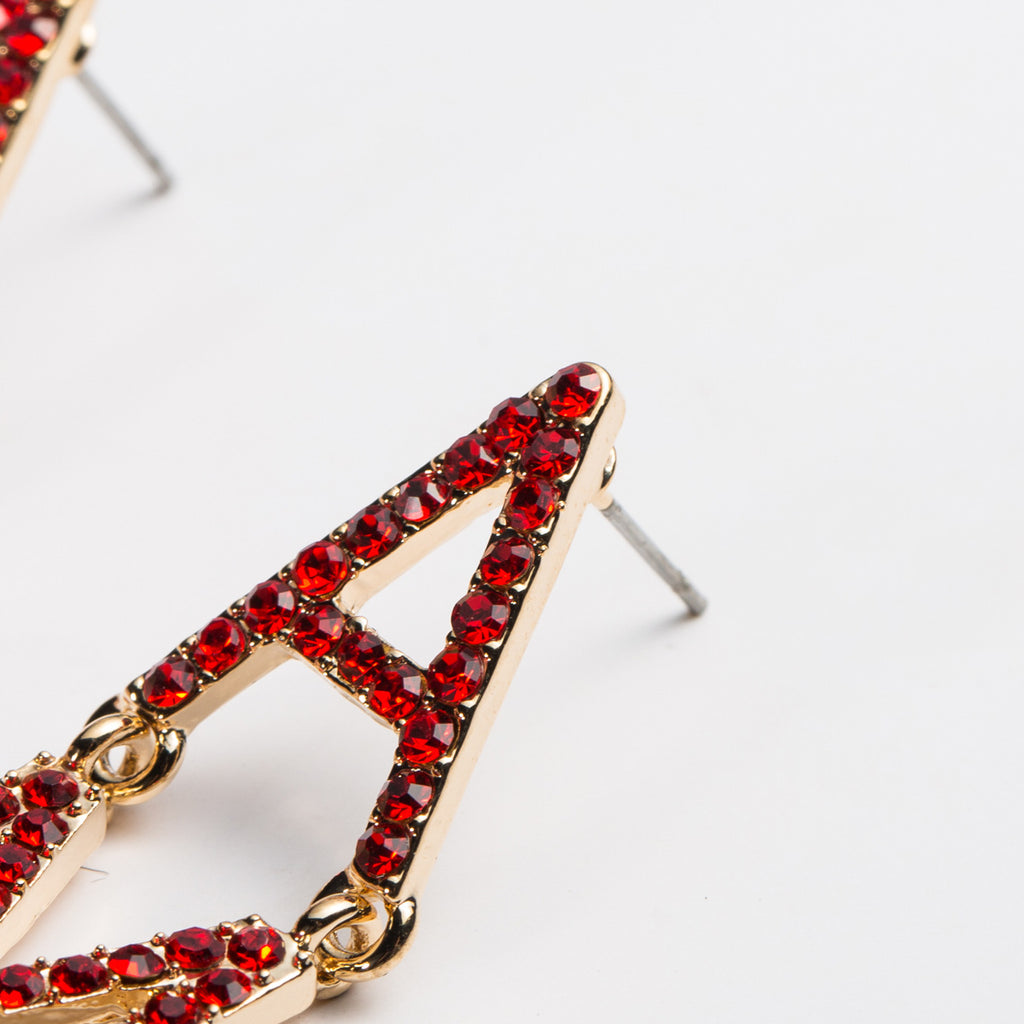 Gold Red Rhinestone Crystal Amour Love Long Drop Women's Earrings Blogger Fun