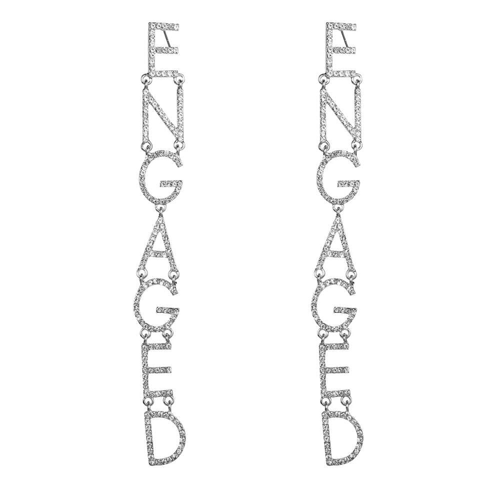 "Long Silver Rhinestone ""Engaged"" Women's Earrings Bachelorette Party Night Out"