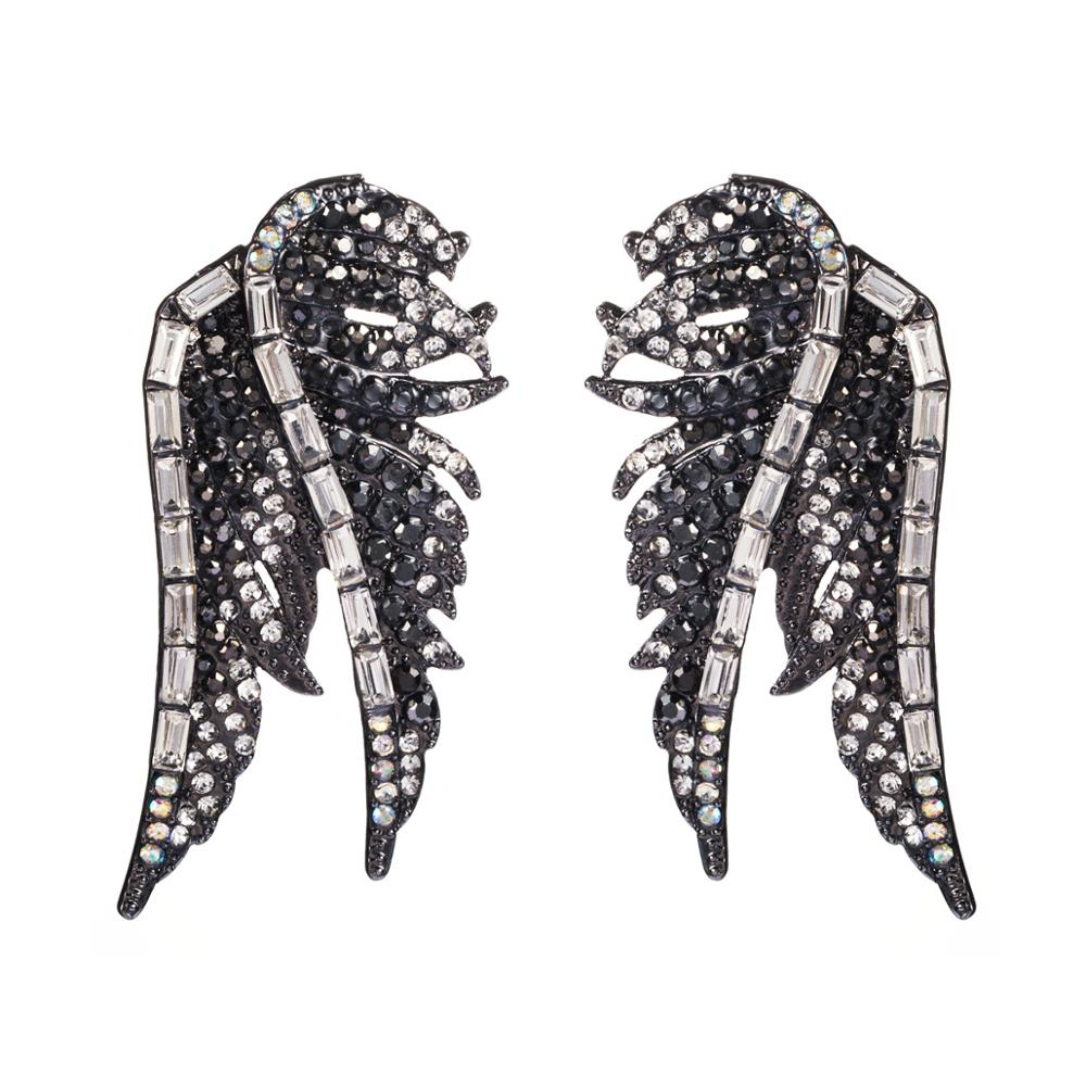 Black Rhinestone Angel Wing Bird Drop Women's Earrings Chic Elegant Party