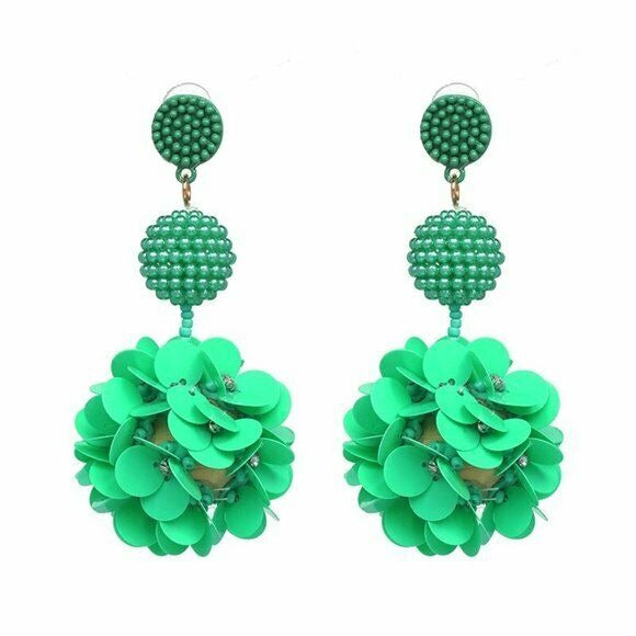 Green Beaded Sequin Flower Large Drop Women's Statement Earrings Nature Fun