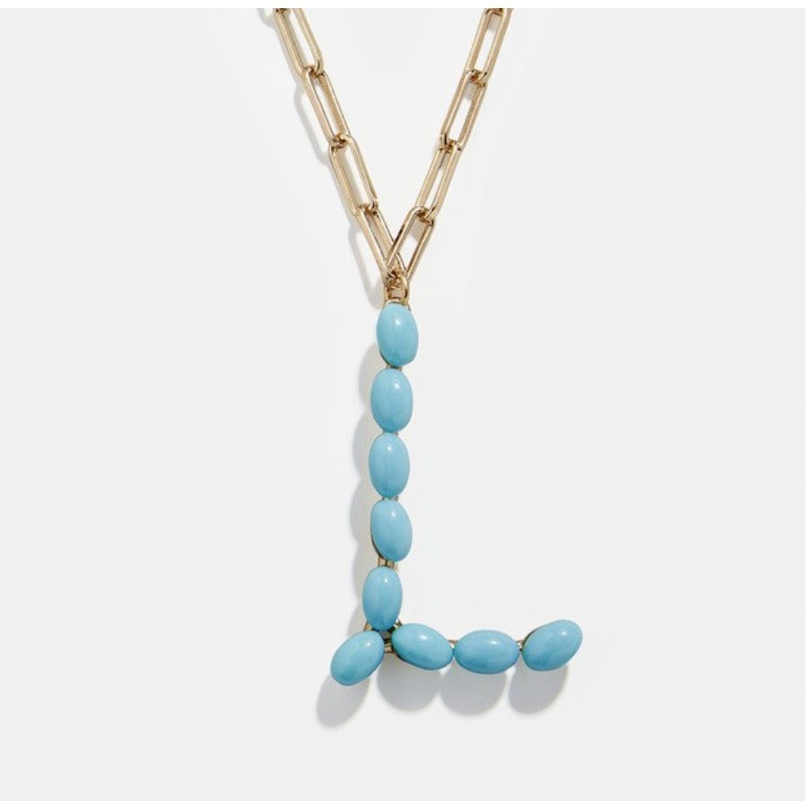 "Blue Bead Paper Clip Chain Initial Letter ""L"" Name Necklace"