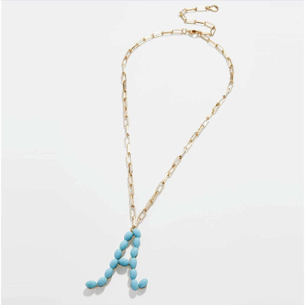 "Blue Beaded Letter ""L"" Gold Paperclip Name Necklace"