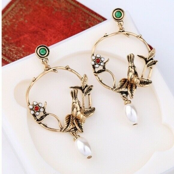 Birds & Flower Nature Pearl Romantic Style Drop Statement Earrings