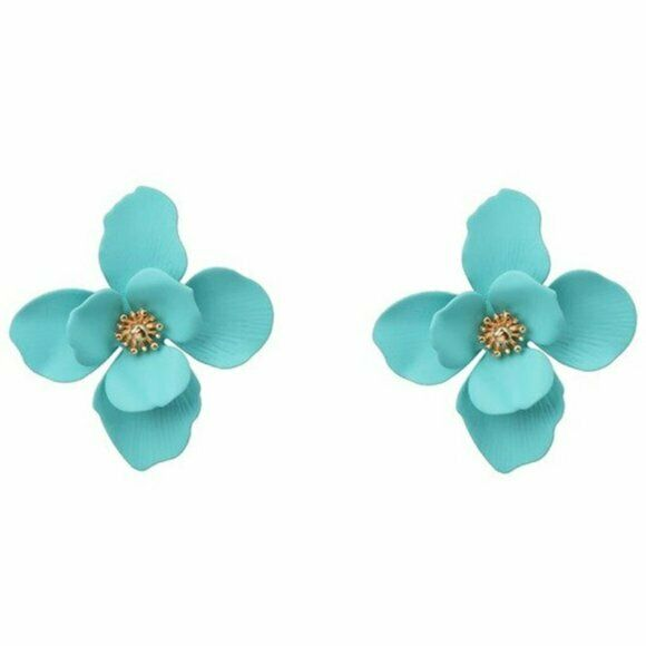 Turquoise Gold Large Flower Stud Women's Fashion Earrings Nature Cute Blogger