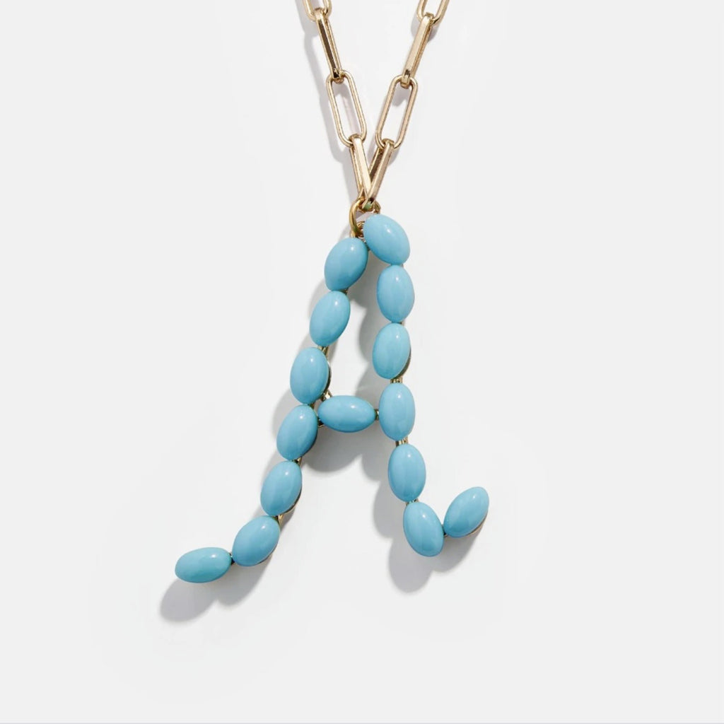 "Blue Bead Paper Clip Chain Initial Letter ""A"" Name Necklace"