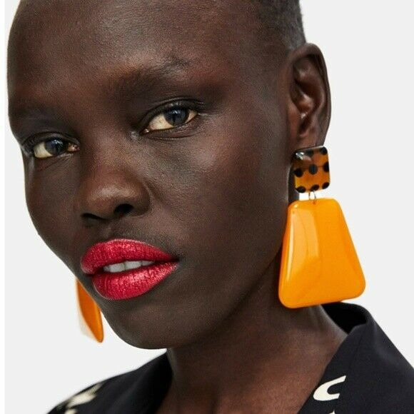 Orange Brown Retro Geometric Statement Large Women's Earrings Chic Trendy