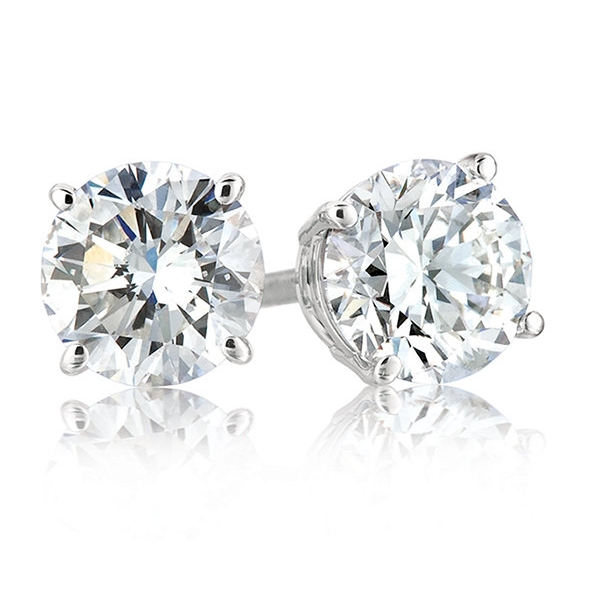 Women's Platinum Plated Round 6mm Cubic Zirconia 4 Prong Simple Stud Earrings