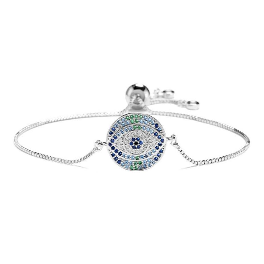 Silver Blue Round Evil Eye Symbol Cubic Zirconia Women's Adjustable Bracelet