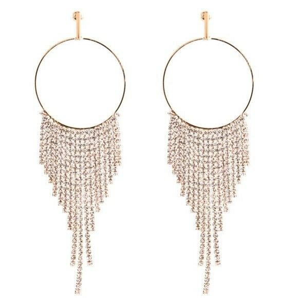 Gold Tone Long Drop Round Crystal Women's Earrings Party Night Out Trendy