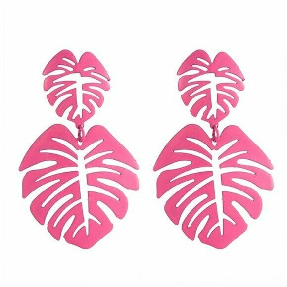 Hot Pink Drop Palm Leaf Women's Statement Earrings Summer Vacation Trendy Style