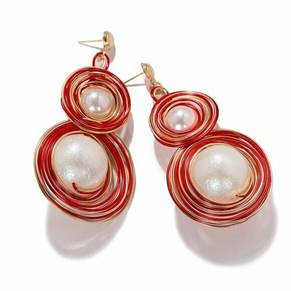 Gold Red Wired Contemporary Round Large Pearl Drop Elegant Women's Earrings