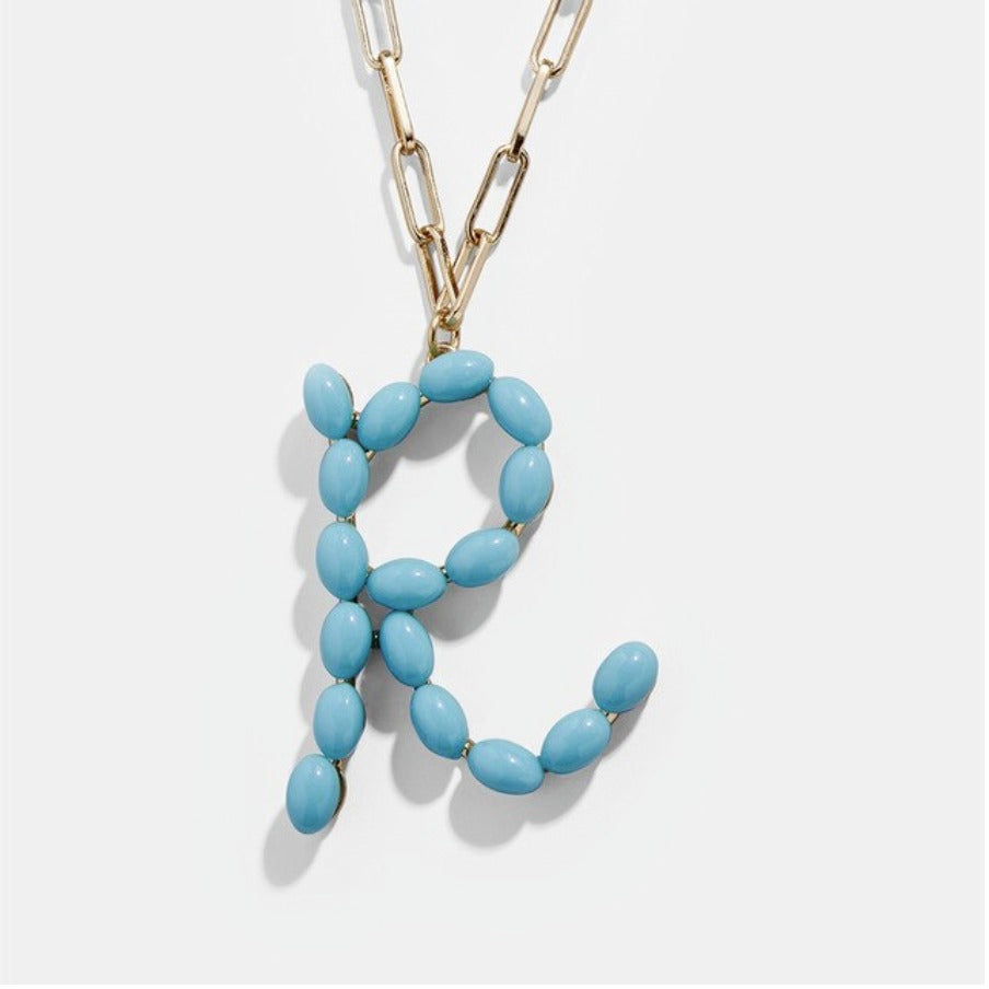 "Blue Bead Paper Clip Chain Initial Letter ""P"" Name Necklace"