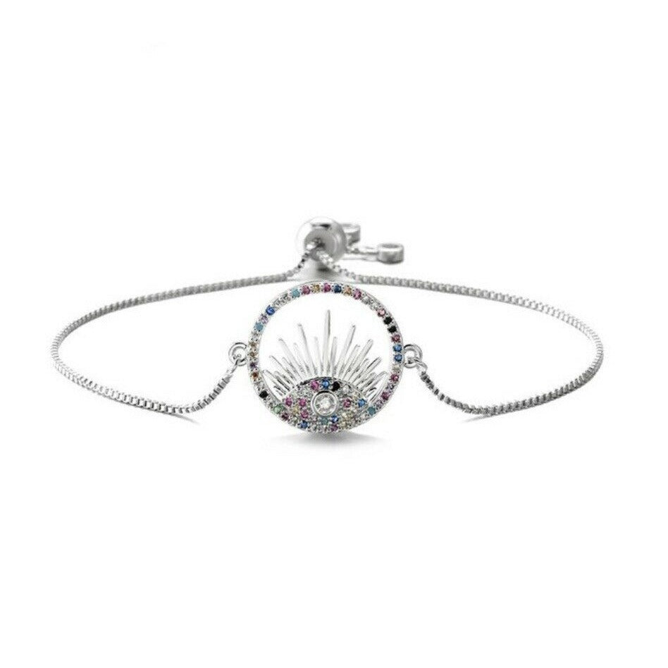 Silver Blue Cubic Zirconia Round Evil Eye Cute Lash Boho Adjustable Bracelet