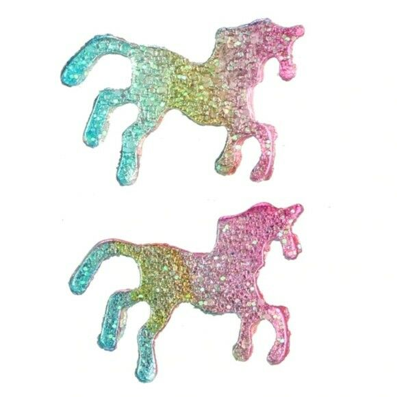 Multi-Color Unicorn Small Women's Stud Earrings Horse Animal Glitter Magic ChildMulti-Color Glitter Magic Unicorn Small Stud Earrings