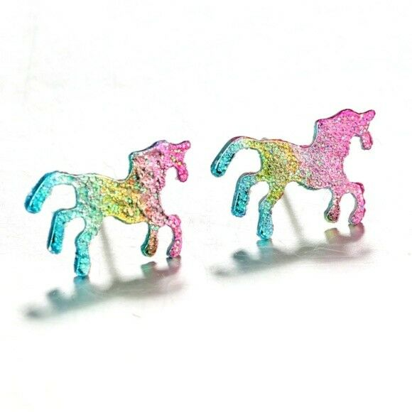 Multi-Color Unicorn Small Women's Stud Earrings Horse Animal Glitter Magic Child